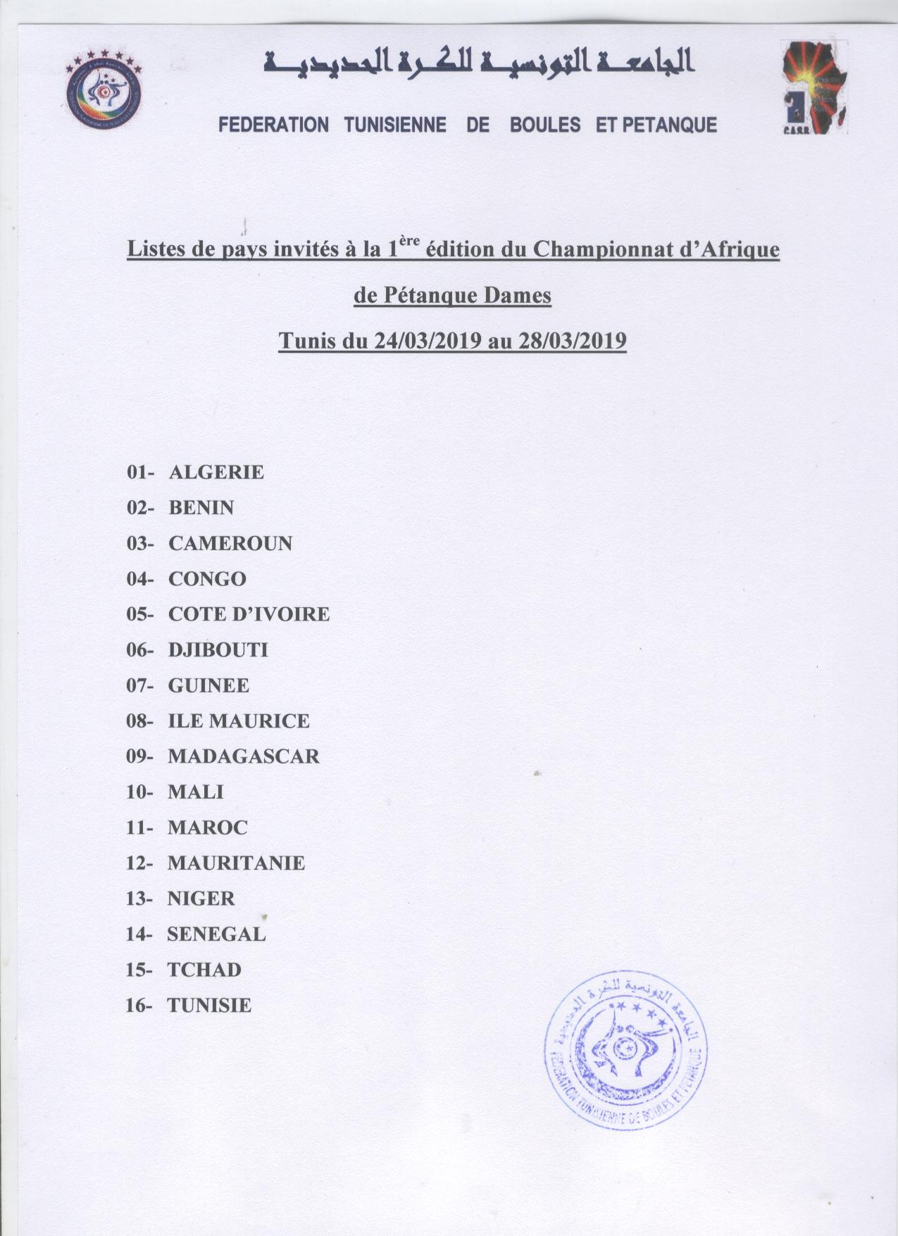 liste des pays invités au champ.afr