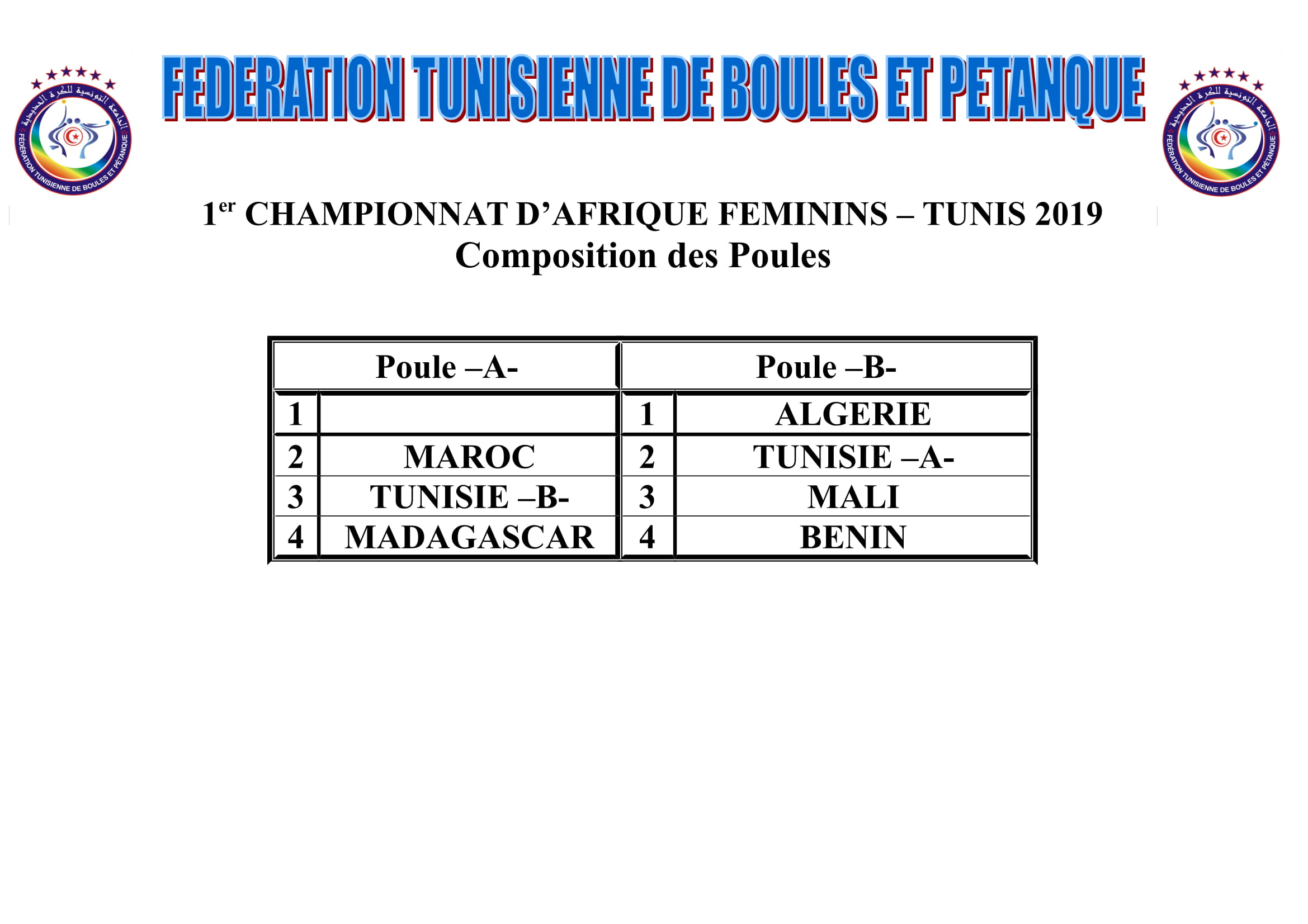 Composition des POULes CHAMP AFR-2