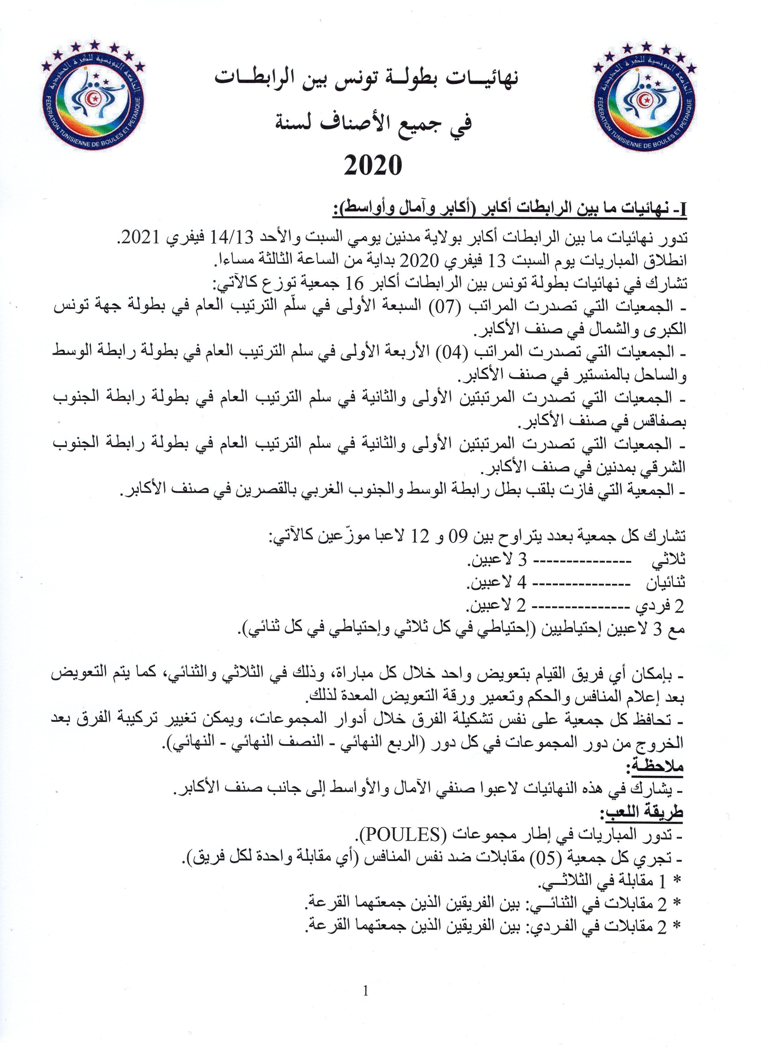 القوانين الفنية لنهائيات بين الرابطات 2020 (1(
