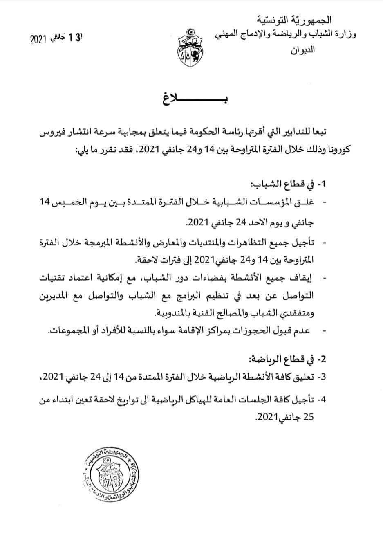 بلاغ وزارة الشباب والرياضة بخصوص الحجر الصحي